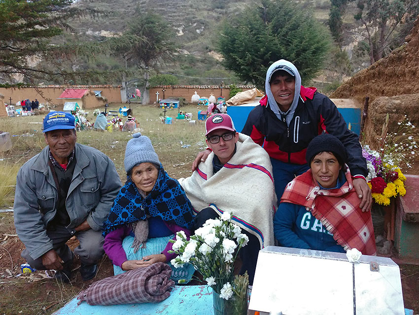 writer with his host family on November 1 - the Day of the Dad in Peru