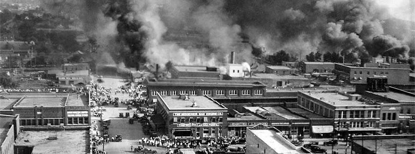 fires raging during the 1921 race riot in Greenwood, Tulsa