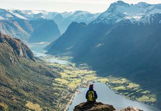 view of Norway's fjord country from atop Mount Hoven