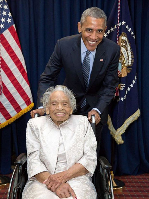 Olivia Hooker and Pres. Barack Obama in 2015