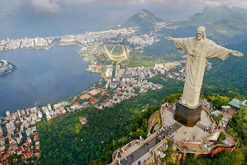 Christ the Redeemer statue over the Guanabara Bay, Rio de Janeiro