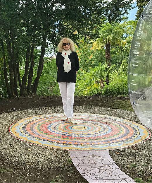 writer at the large Mandala at the end of Chiara's Rainbow