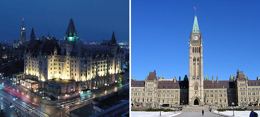 the Fairmont Chateau Laurier and the Peace Tower on Parliament Hill, Ottawa