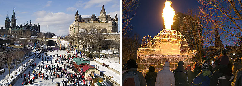 the Rideau Canal Skateway and Winterlude ice sculpture in Confederation Park, Ottawa