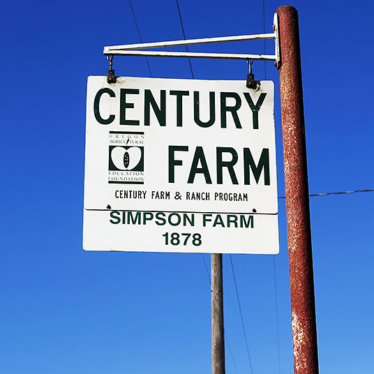 Simpson Century Farm sign, Tualatin Valley, Oregon