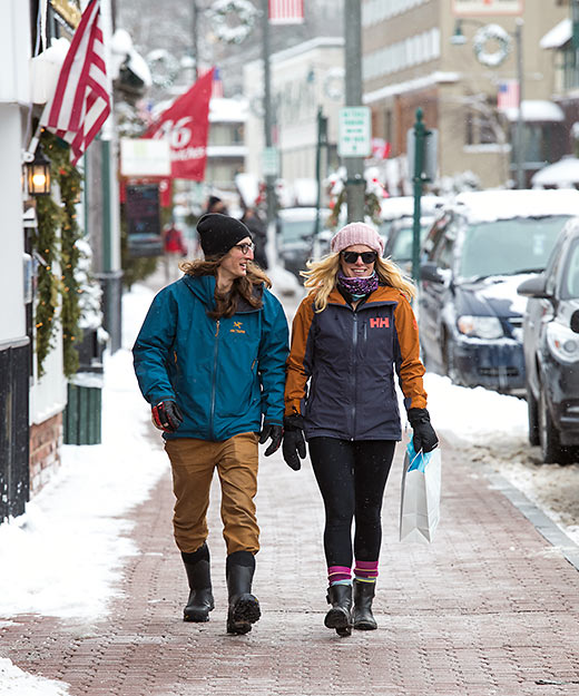 strolling at Lake Placid in winter