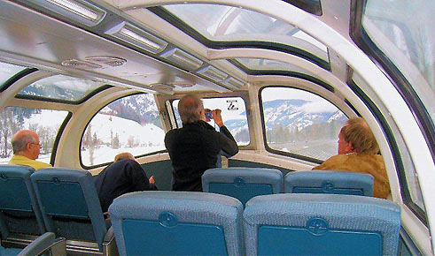 inside a VIA Rail Canada train