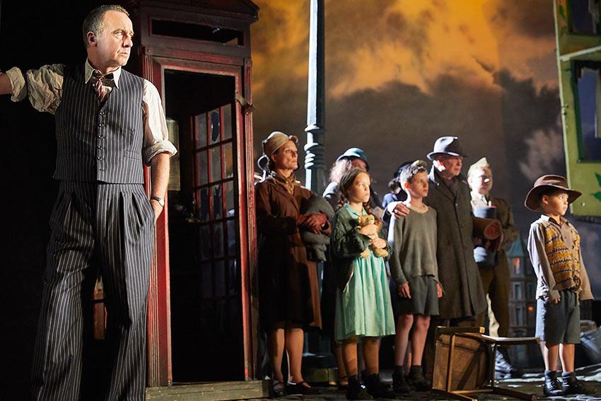 Liam Brennan as Inspector Goole with a 'Greek Chorus'
