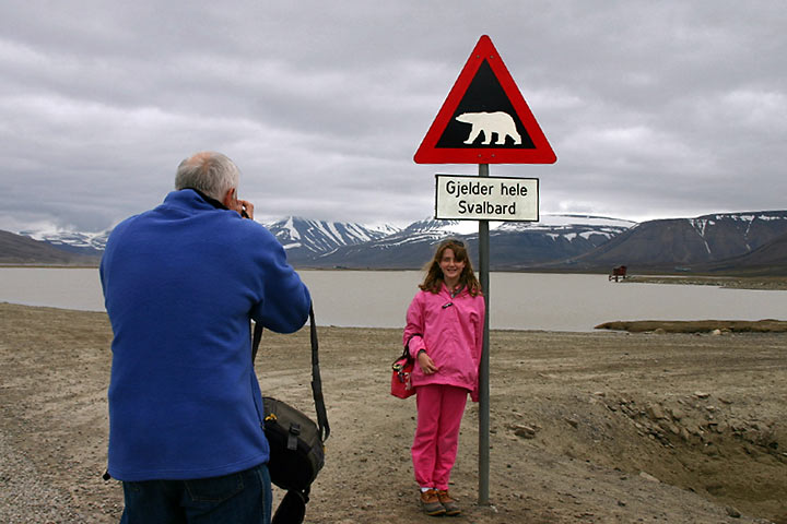 polar bear sign and visitors
