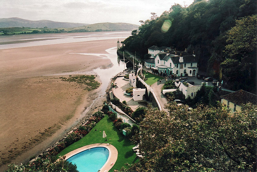 the beach at Port Meirion Village, North Wales, UK