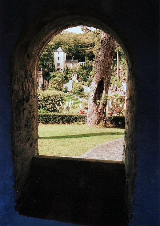 view of Port Meirion Village from a window