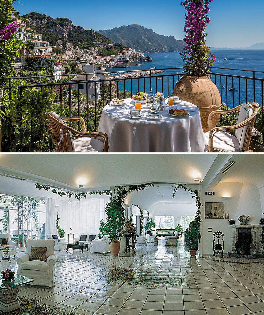 exterior (with the Amalfi coast in the background) and interior views of the Hotel Santa Caterina