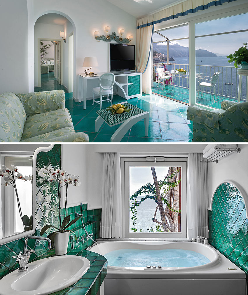 interior views of suites at the Hotel Santa Caterina