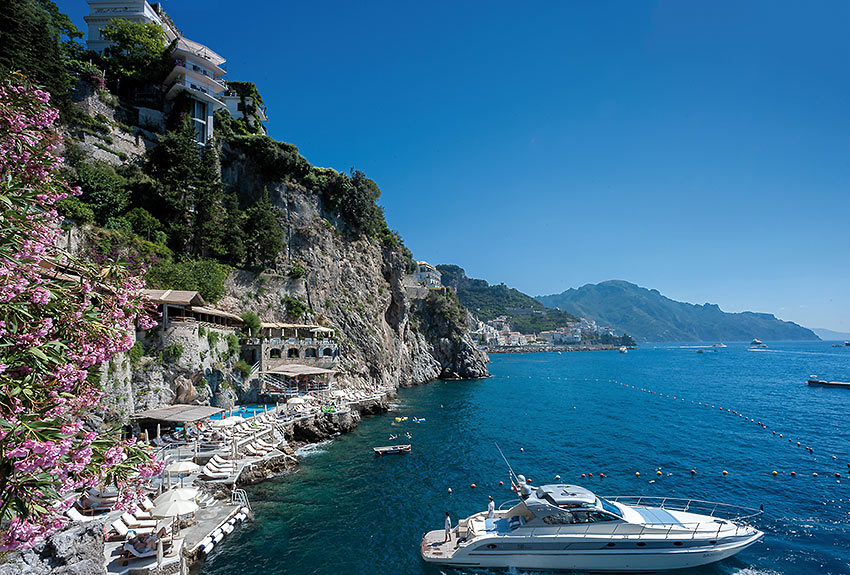 Hotel Santa Caterina on the edge of a cliff on the Amalfi coast, southern Italy