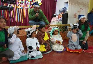 kids at a Christmas party in a local church, Peru