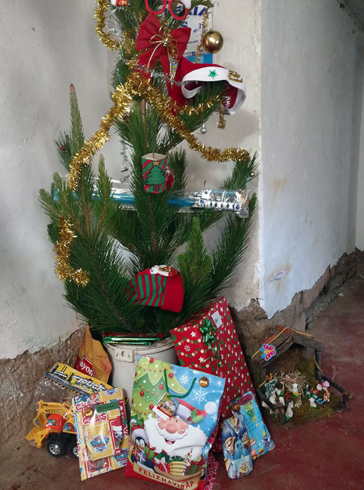 Christmas tree with presents at the writer's host residence