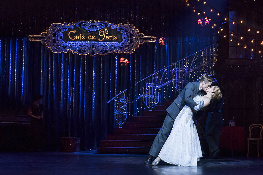 Andrew Monaghan as Harry, the RAF pilot and Ashley Shaw as Cinderella, fall in love at the Ball