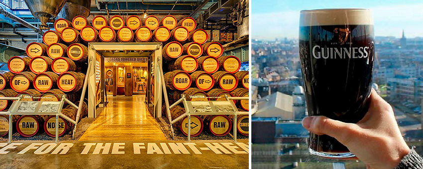 Guinness Storehouse and glass of Guinness beer, Dublin