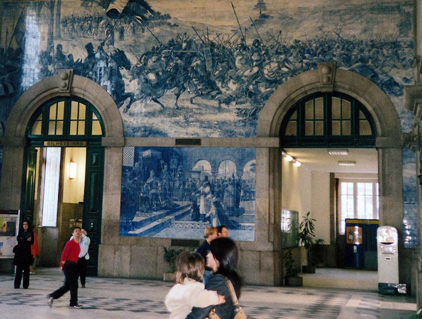 artwork inside the Porto Railway Station, Portugal