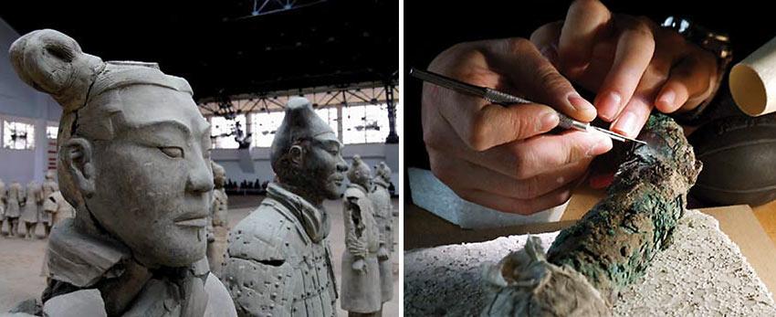 restoration of terracotta warriors, Xi'an, China
