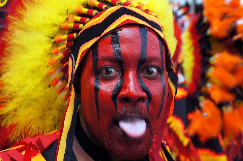 Trinidad & Tobago man in carnival make-up