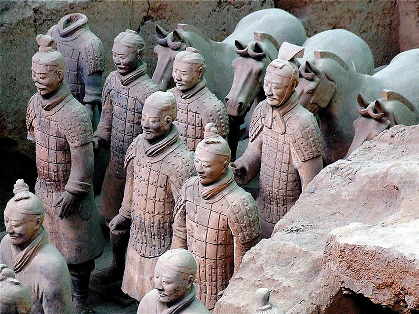 terracotta warriors at an excavation, Xi'an, central China