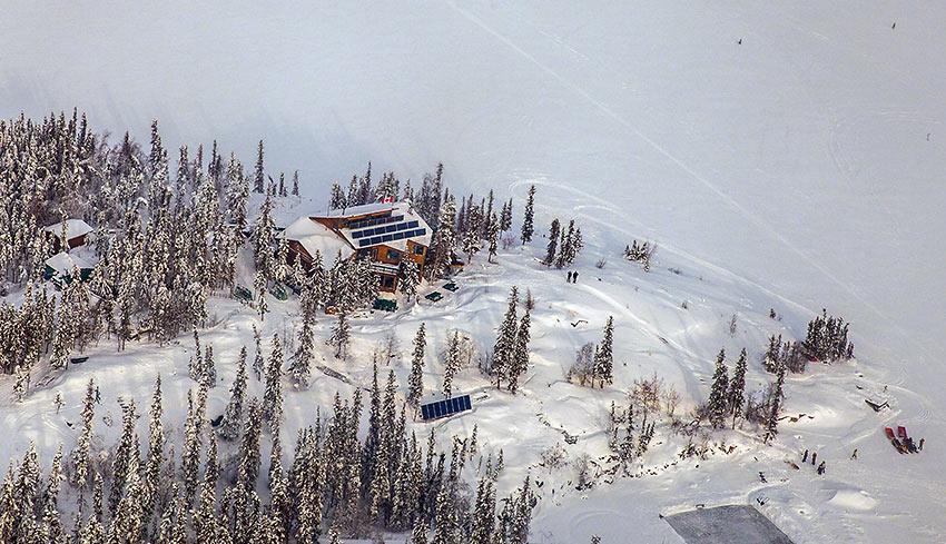 drone shot of Blachford Lake Lodge