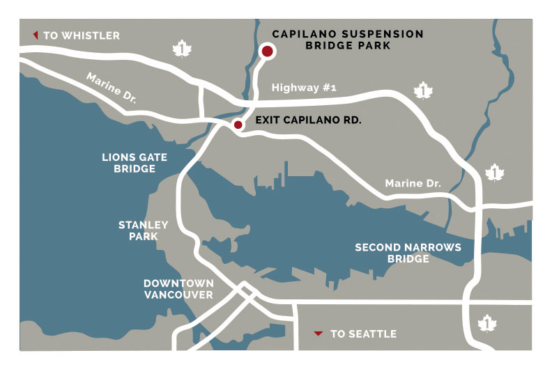 location map of Capilano Bridge, Vancouver
