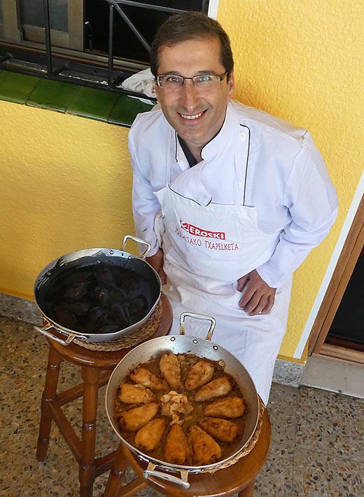 Chef Mikel Garikoitz Isasi Perez with both squid dishes