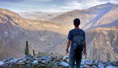 writer during hike at the Colca Canyon, Peru