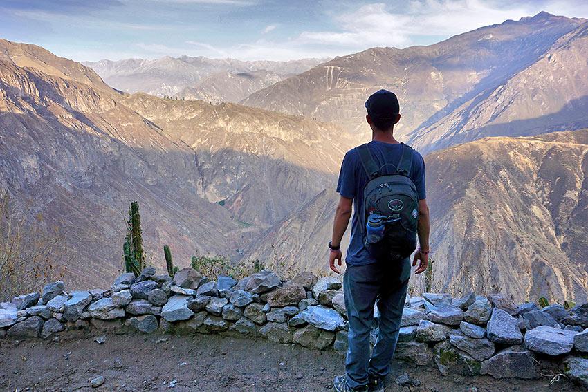writer during hike at the Colca Canyon, Peru