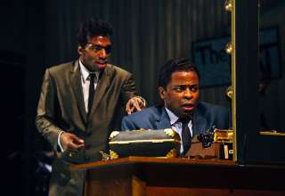 Daniel J. Watts as Sammy Davis Jr. and Dule Hill as Nat 'King' Cole in a highly dramatic moment in Cole's dressing room