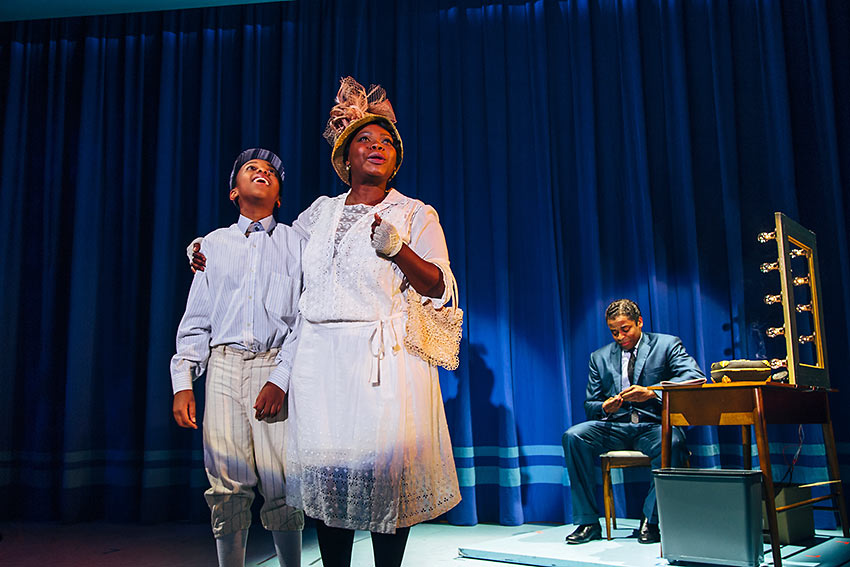 "Connor Amacio Matthews as young Nat ""King Cole,"" Zonya Love as his mother Perlina and Dule Hill as Nat 'King' Cole"