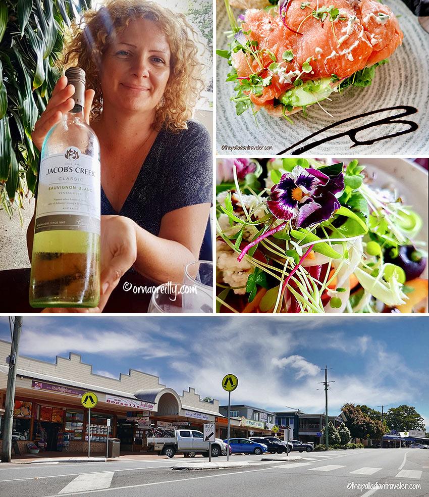 smoked salmon panino, bush tucker salad and wine at Sarah's Unplugged, Maleny