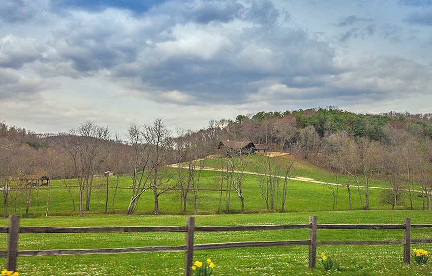 cabins and cottages dot hills, hollers, and meadows in southeast Ohio's Hocking Hills