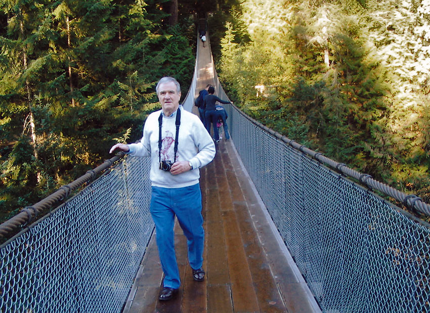 the writer at Capilano Bridge