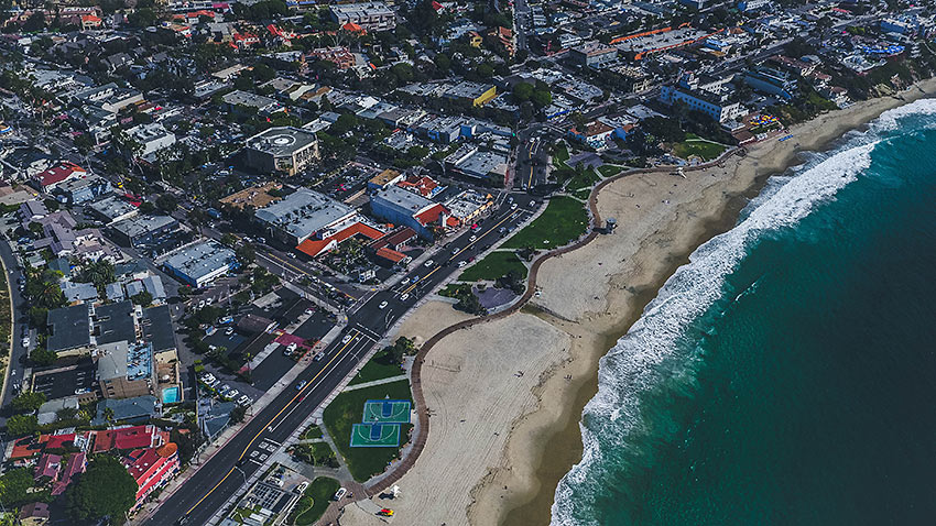 aerial view of establishments on Laguna Beach