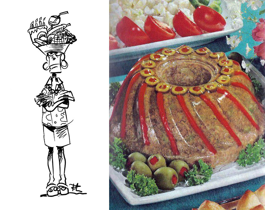 Meatloaf Jell-O and cartoon