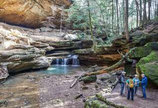 visitors at Old Man's Cave, Hocking Hills State Park