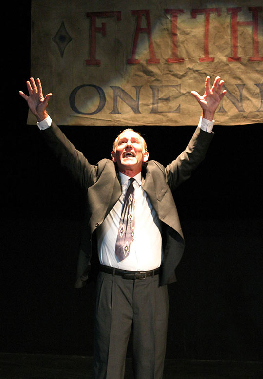 Paul Norwood as Francis Hardy in the play 'Faith Healer'