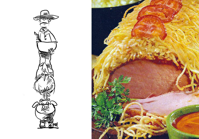 Pork with Spaghetti and cartoon