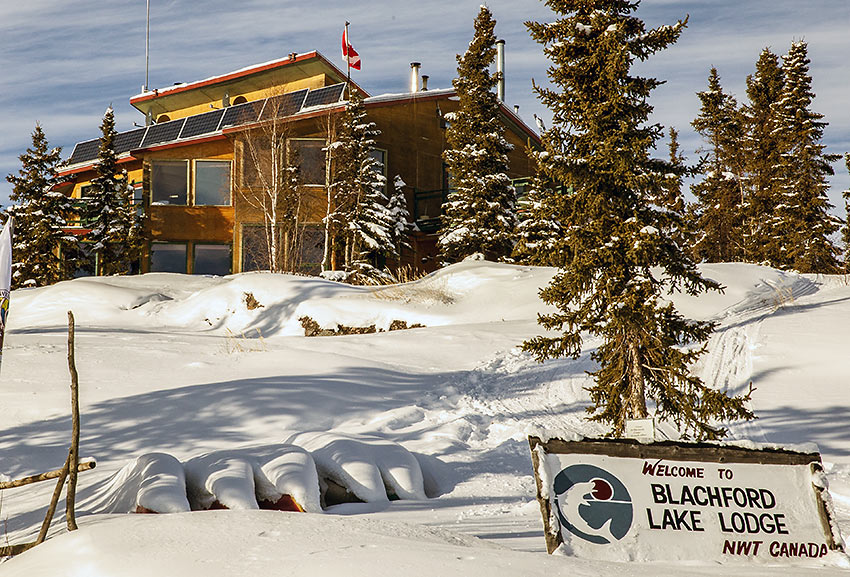 room additions and two rows of solar panels at Blachford Lake Lodge