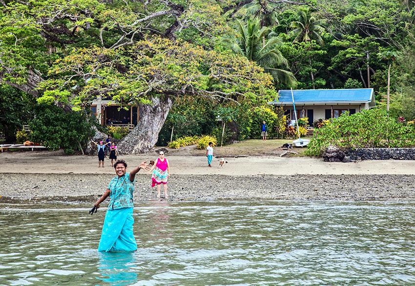 welcoming guests at Sau Bay Resort, Vanu levu, Fiji