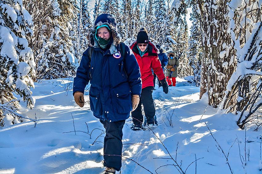 snowshoe hikers at Blachford Lake