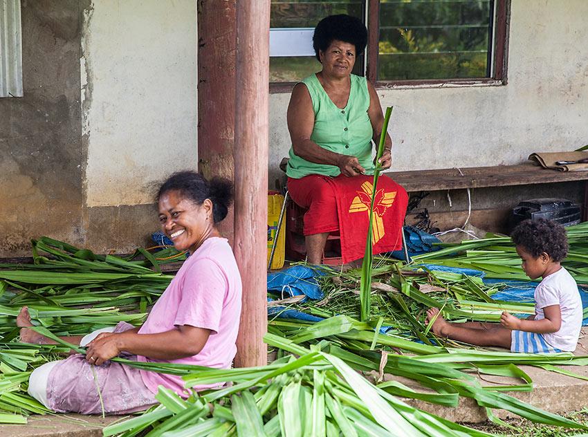 women weavers at Taveuni Island