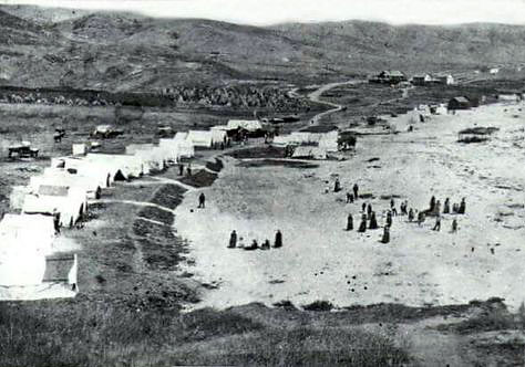 tents on the beach, Laguna Beach, circa late 1800s