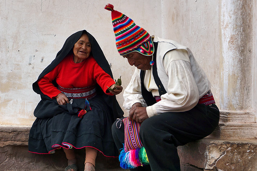 typical greeting using exchange of coca leaves, Lake Titicaca