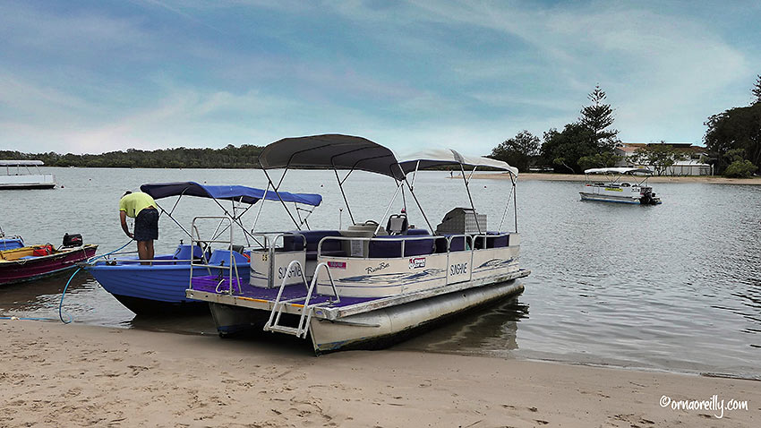 six-person pontoon boat from Swan Boat Hire, Maroochydore