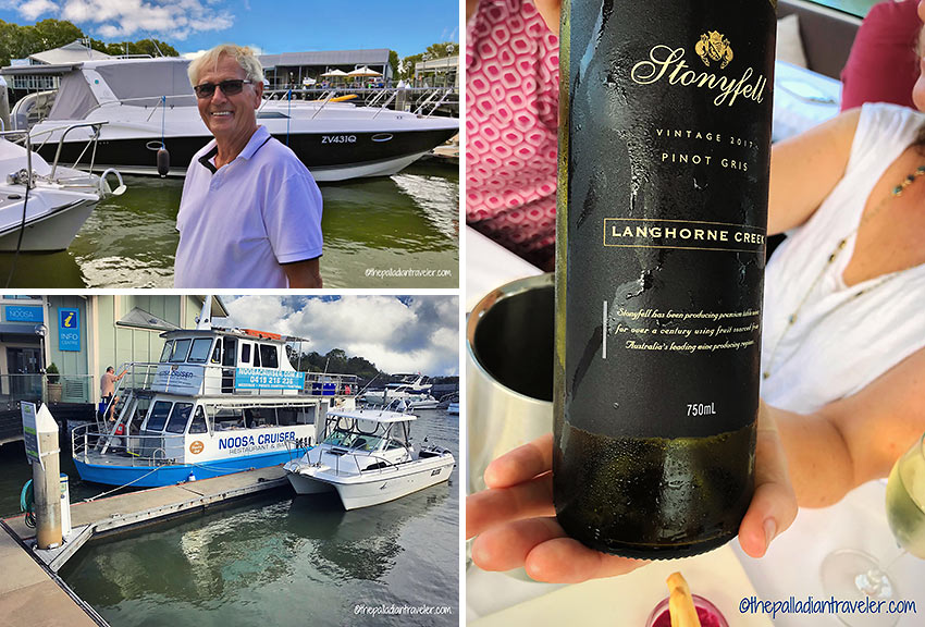 at the Noosa Marina in Tewantin with Ron and a bottle of chilled Aussie Pinot Gris