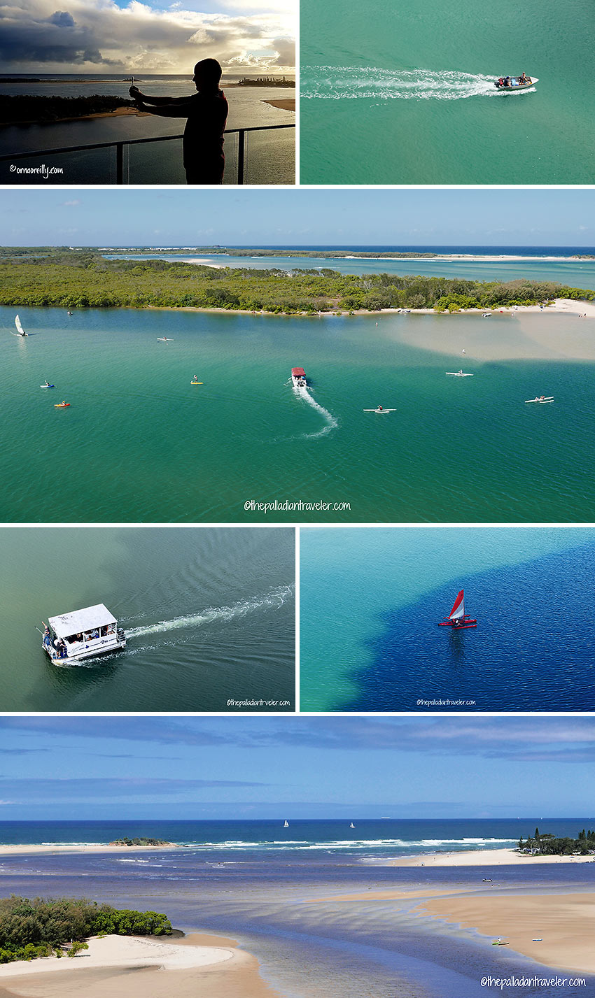boats at the junction of the Maroochy River and the Coral Sea